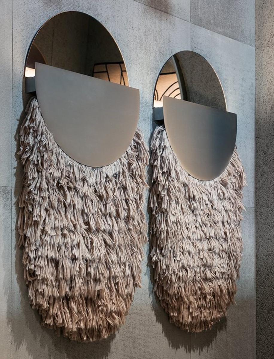 Il tappeto va a muro e diventa lampada, Studiopepe per CC-Tapis - The Talisman Wallhanging collection