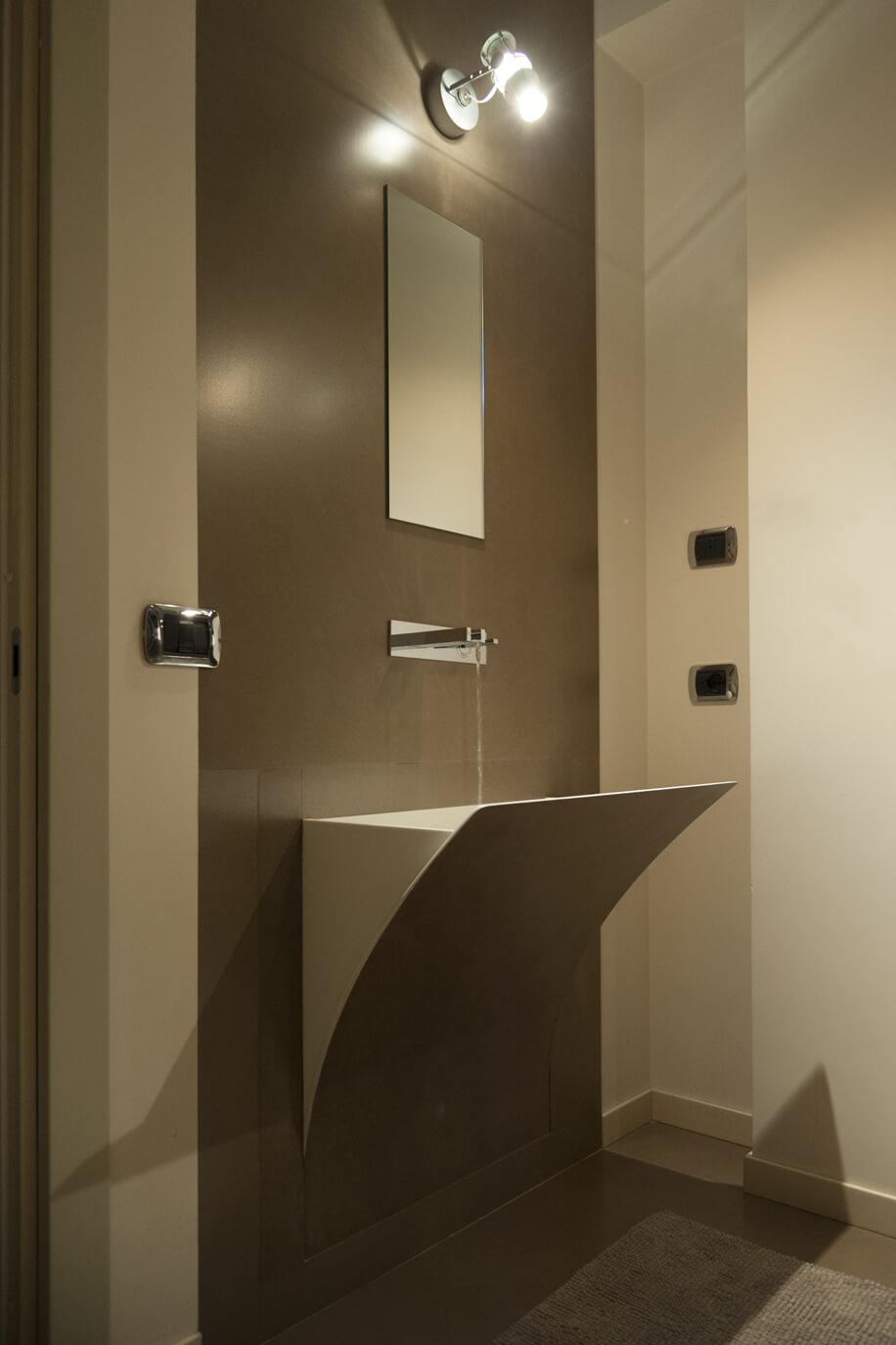 Corian per il bagno, nel progetto di una villa unifamiliare moderna
